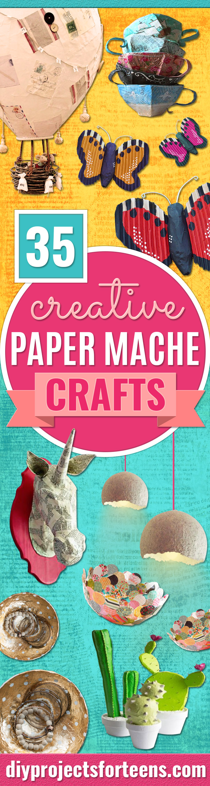 Creative Paper Mache Crafts - Easy DIY Ideas for Making Paper Mache Projects - Cool Newspaper and Paper Bag Craft Tips - Recipe for for How To Make Homemade Paper Mashe paste - Halloween Masks and Costume Tutorials - Sculpture, Animals and Ideas for Kids http://diyprojectsforteens.com/paper-mache-crafts