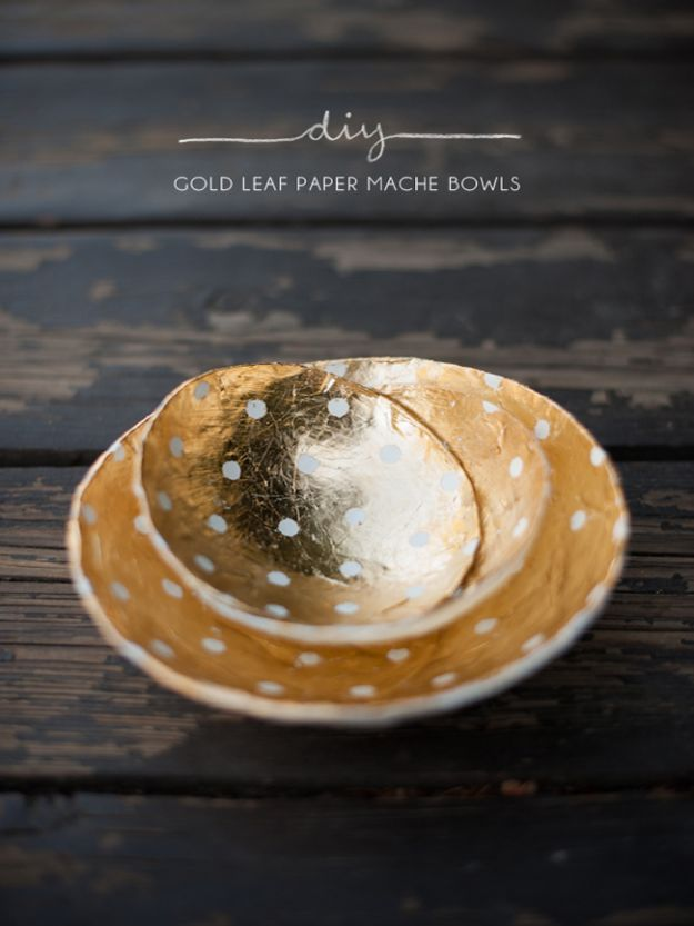 Creative Paper Mache Crafts - DIY Gold Leaf Paper Mache Bowls - Easy DIY Ideas for Making Paper Mache Projects - Cool Newspaper and Paper Bag Craft Tips - Recipe for for How To Make Homemade Paper Mashe paste - Halloween Masks and Costume Tutorials - Sculpture, Animals and Ideas for Kids http://diyprojectsforteens.com/paper-mache-crafts