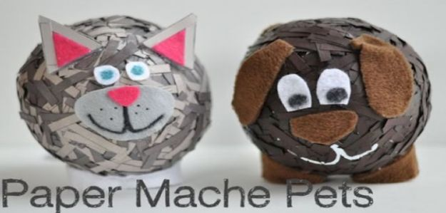 Creative Paper Mache Crafts - DIY Paper Mache Pets - Easy DIY Ideas for Making Paper Mache Projects - Cool Newspaper and Paper Bag Craft Tips - Recipe for for How To Make Homemade Paper Mashe paste - Halloween Masks and Costume Tutorials - Sculpture, Animals and Ideas for Kids http://diyprojectsforteens.com/paper-mache-crafts