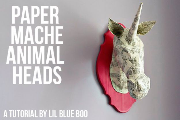 Creative Paper Mache Crafts - Paper Mache Animal Heads - Easy DIY Ideas for Making Paper Mache Projects - Cool Newspaper and Paper Bag Craft Tips - Recipe for for How To Make Homemade Paper Mashe paste - Halloween Masks and Costume Tutorials - Sculpture, Animals and Ideas for Kids #diyideas #papermache #teencrafts #crafts