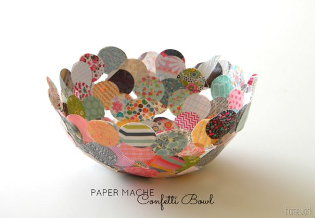 Creative Paper Mache Crafts - Paper Mache Confetti Bowl - Easy DIY Ideas for Making Paper Mache Projects - Cool Newspaper and Paper Bag Craft Tips - Recipe for for How To Make Homemade Paper Mashe paste - Halloween Masks and Costume Tutorials - Sculpture, Animals and Ideas for Kids #diyideas #papermache #teencrafts #crafts