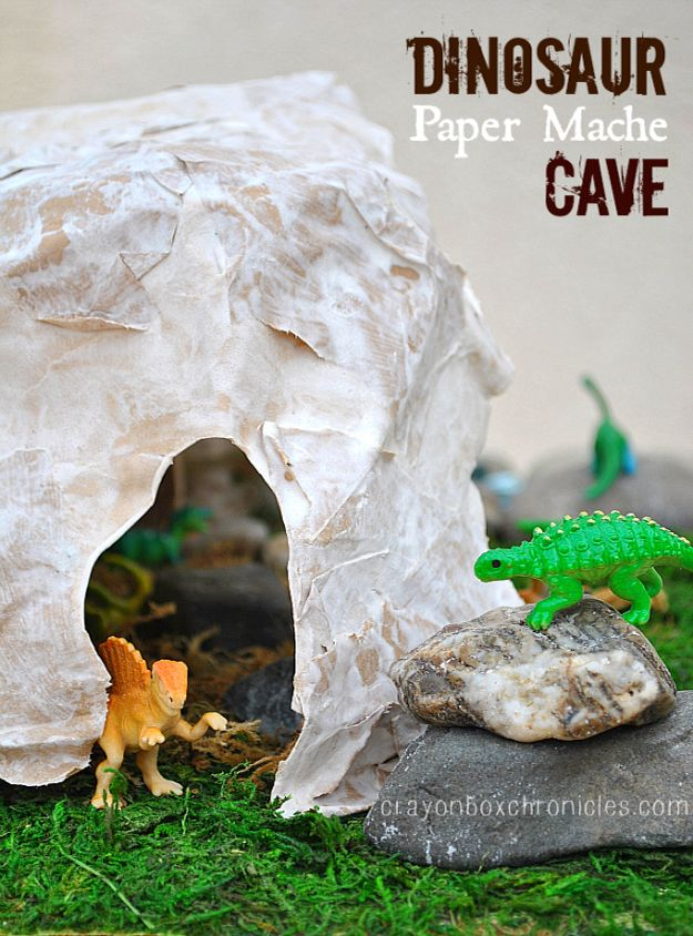 Creative Paper Mache Crafts - Paper Mache Dinosaur Cave - Easy DIY Ideas for Making Paper Mache Projects - Cool Newspaper and Paper Bag Craft Tips - Recipe for for How To Make Homemade Paper Mashe paste - Halloween Masks and Costume Tutorials - Sculpture, Animals and Ideas for Kids #diyideas #papermache #teencrafts #crafts