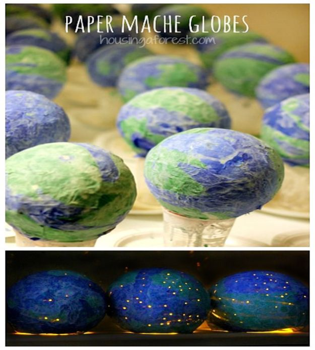 Creative Paper Mache Crafts - Paper Mache Light Up Globes - Easy DIY Ideas for Making Paper Mache Projects - Cool Newspaper and Paper Bag Craft Tips - Recipe for for How To Make Homemade Paper Mashe paste - Halloween Masks and Costume Tutorials - Sculpture, Animals and Ideas for Kids http://diyprojectsforteens.com/paper-mache-crafts