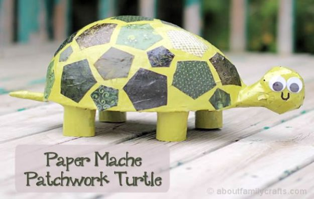 Creative Paper Mache Crafts - Paper Mache Patchwork Turtle - Easy DIY Ideas for Making Paper Mache Projects - Cool Newspaper and Paper Bag Craft Tips - Recipe for for How To Make Homemade Paper Mashe paste - Halloween Masks and Costume Tutorials - Sculpture, Animals and Ideas for Kids #diyideas #papermache #teencrafts #crafts