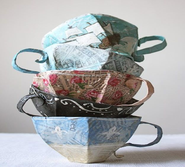 Creative Paper Mache Crafts - Paper Mache Teacup Pattern - Easy DIY Ideas for Making Paper Mache Projects - Cool Newspaper and Paper Bag Craft Tips - Recipe for for How To Make Homemade Paper Mashe paste - Halloween Masks and Costume Tutorials - Sculpture, Animals and Ideas for Kids #diyideas #papermache #teencrafts #crafts