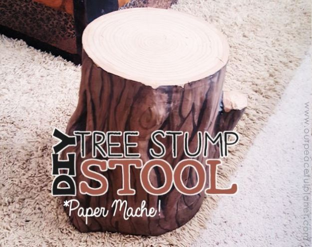Creative Paper Mache Crafts - Paper Mache Tree Stump Stool - Easy DIY Ideas for Making Paper Mache Projects - Cool Newspaper and Paper Bag Craft Tips - Recipe for for How To Make Homemade Paper Mashe paste - Halloween Masks and Costume Tutorials - Sculpture, Animals and Ideas for Kids http://diyprojectsforteens.com/paper-mache-crafts