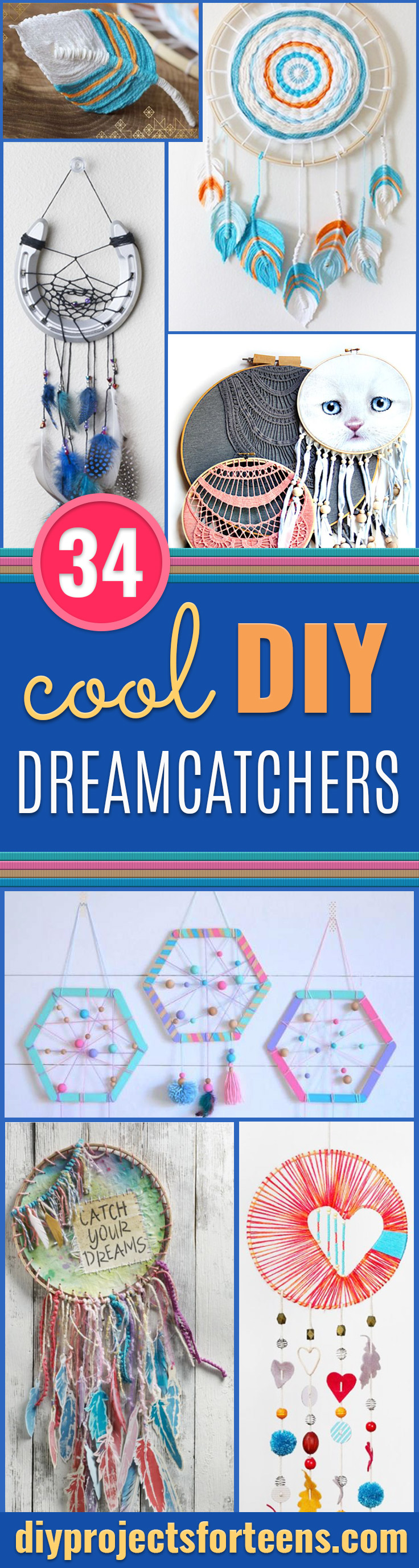 DIY Dream Catchers - How to Make a Dreamcatcher Step by Step Tutorial - Easy Ideas for Dream Catcher for Kids Room - Make a Mobile, Moon Designs, Pattern Ideas, Boho Dreamcatcher With Sticks, Cool Wall Hangings for Teen Rooms - Cheap Home Decor Ideas on A Budget #diyideas #teencrafts #dreamcatchers