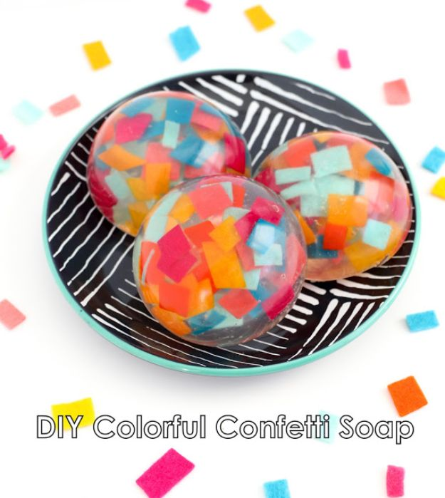 Soap Recipes DIY - DIY Colorful Confetti Soap - DIY Soap Recipe Ideas - Best Soap Tutorials for Soap Making Without Lye - Easy Cold Process Melt and Pour Tips for Beginners - Crockpot, Essential Oils, Homemade Natural Soaps and Products - Creative Crafts and DIY for Teens, Kids and Adults #soaprecipes #diygifts #soapmaking