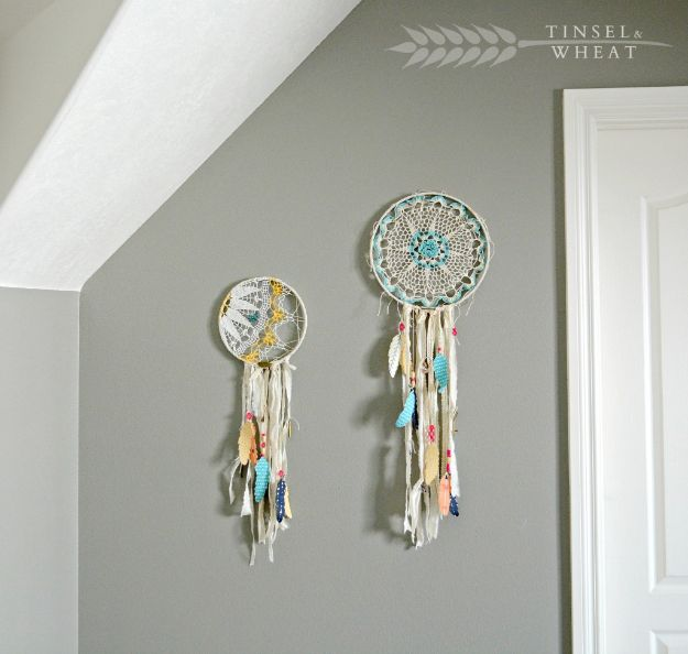 DIY Dream Catchers - DIY Doily Dreamcatcher - How to Make a Dreamcatcher Step by Step Tutorial - Easy Ideas for Dream Catcher for Kids Room - Make a Mobile, Moon Designs, Pattern Ideas, Boho Dreamcatcher With Sticks, Cool Wall Hangings for Teen Rooms - Cheap Home Decor Ideas on A Budget #diyideas #teencrafts #dreamcatchers