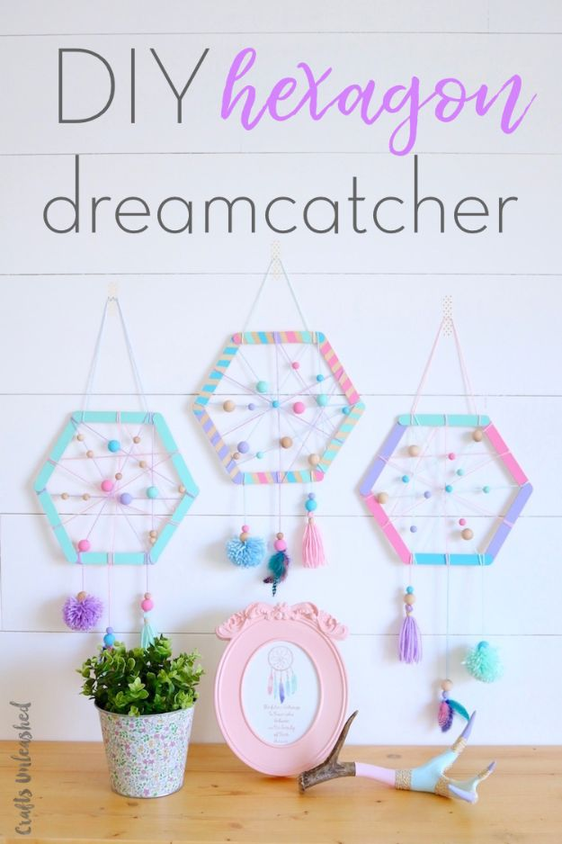 DIY Dream Catchers - DIY Hexagon Dreamcatcher- How to Make a Dreamcatcher Step by Step Tutorial - Easy Ideas for Dream Catcher for Kids Room - Make a Mobile, Moon Designs, Pattern Ideas, Boho Dreamcatcher With Sticks, Cool Wall Hangings for Teen Rooms - Cheap Home Decor Ideas on A Budget http://diyprojectsforteens.com/diy-dreamcatchers