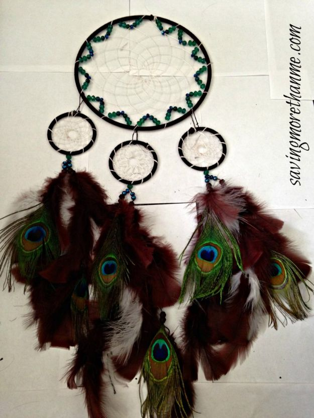 DIY Dream Catchers - DIY Peacock Dreamcatcher - How to Make a Dreamcatcher Step by Step Tutorial - Easy Ideas for Dream Catcher for Kids Room - Make a Mobile, Moon Designs, Pattern Ideas, Boho Dreamcatcher With Sticks, Cool Wall Hangings for Teen Rooms - Cheap Home Decor Ideas on A Budget #diyideas #teencrafts #dreamcatchers