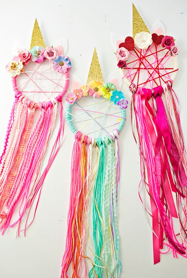 DIY Dream Catchers - DIY Unicorn Dreamcatchers - How to Make a Dreamcatcher Step by Step Tutorial - Easy Ideas for Dream Catcher for Kids Room - Make a Mobile, Moon Designs, Pattern Ideas, Boho Dreamcatcher With Sticks, Cool Wall Hangings for Teen Rooms - Cheap Home Decor Ideas on A Budget #diyideas #teencrafts #dreamcatchers