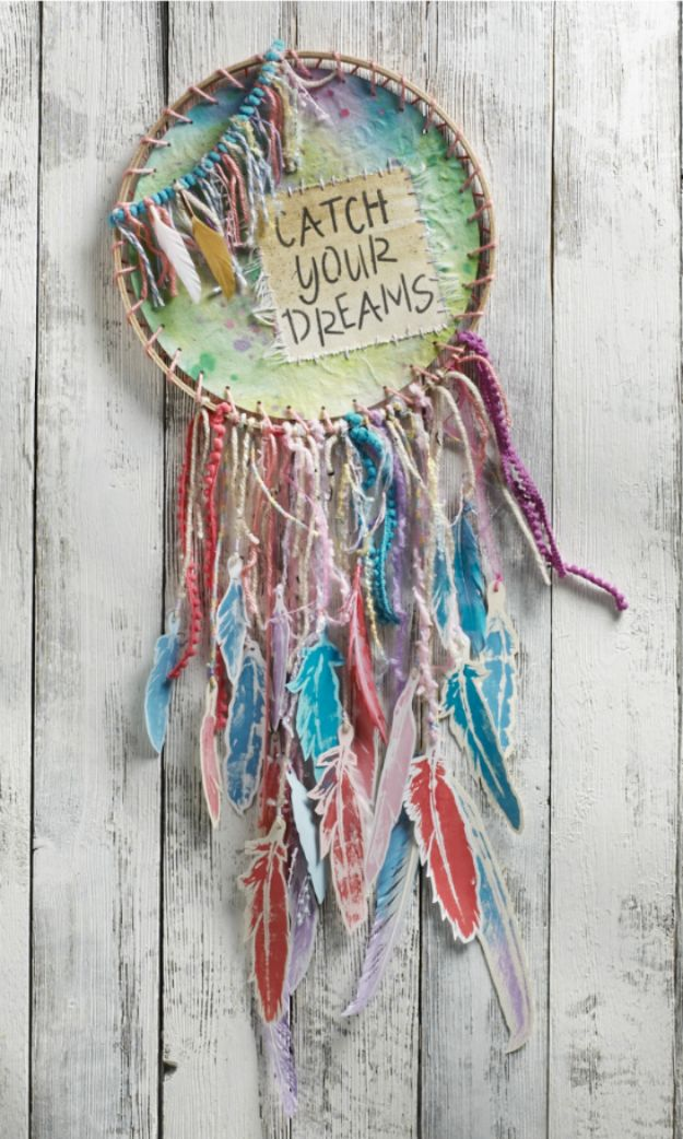 DIY Dream Catchers - DIY Watercolor Dreamcatcher - How to Make a Dreamcatcher Step by Step Tutorial - Easy Ideas for Dream Catcher for Kids Room - Make a Mobile, Moon Designs, Pattern Ideas, Boho Dreamcatcher With Sticks, Cool Wall Hangings for Teen Rooms - Cheap Home Decor Ideas on A Budget #diyideas #teencrafts #dreamcatchers