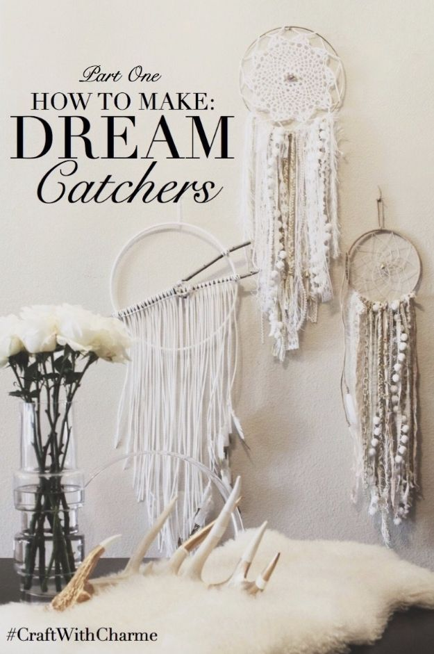 DIY Dream Catchers - Elegant Dreamcatcher - How to Make a Dreamcatcher Step by Step Tutorial - Easy Ideas for Dream Catcher for Kids Room - Make a Mobile, Moon Designs, Pattern Ideas, Boho Dreamcatcher With Sticks, Cool Wall Hangings for Teen Rooms - Cheap Home Decor Ideas on A Budget #diyideas #teencrafts #dreamcatchers