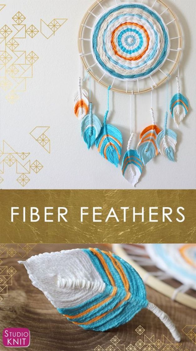 DIY Dream Catchers - Fiber Feather Dreamcatcher - How to Make a Dreamcatcher Step by Step Tutorial - Easy Ideas for Dream Catcher for Kids Room - Make a Mobile, Moon Designs, Pattern Ideas, Boho Dreamcatcher With Sticks, Cool Wall Hangings for Teen Rooms - Cheap Home Decor Ideas on A Budget #diyideas #teencrafts #dreamcatchers