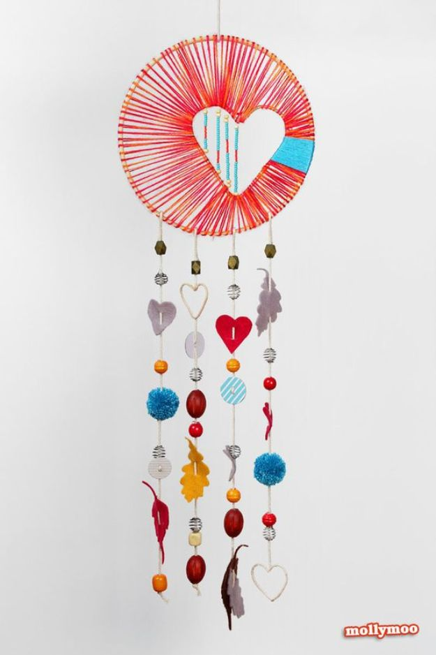 DIY Dream Catchers - Heart of Hope Dreamcatcher - How to Make a Dreamcatcher Step by Step Tutorial - Easy Ideas for Dream Catcher for Kids Room - Make a Mobile, Moon Designs, Pattern Ideas, Boho Dreamcatcher With Sticks, Cool Wall Hangings for Teen Rooms - Cheap Home Decor Ideas on A Budget #diyideas #teencrafts #dreamcatchers
