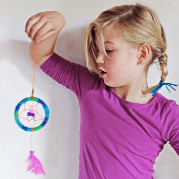 DIY Dream Catchers - Mini Dreamcatcher - How to Make a Dreamcatcher Step by Step Tutorial - Easy Ideas for Dream Catcher for Kids Room - Make a Mobile, Moon Designs, Pattern Ideas, Boho Dreamcatcher With Sticks, Cool Wall Hangings for Teen Rooms - Cheap Home Decor Ideas on A Budget #diyideas #teencrafts #dreamcatchers