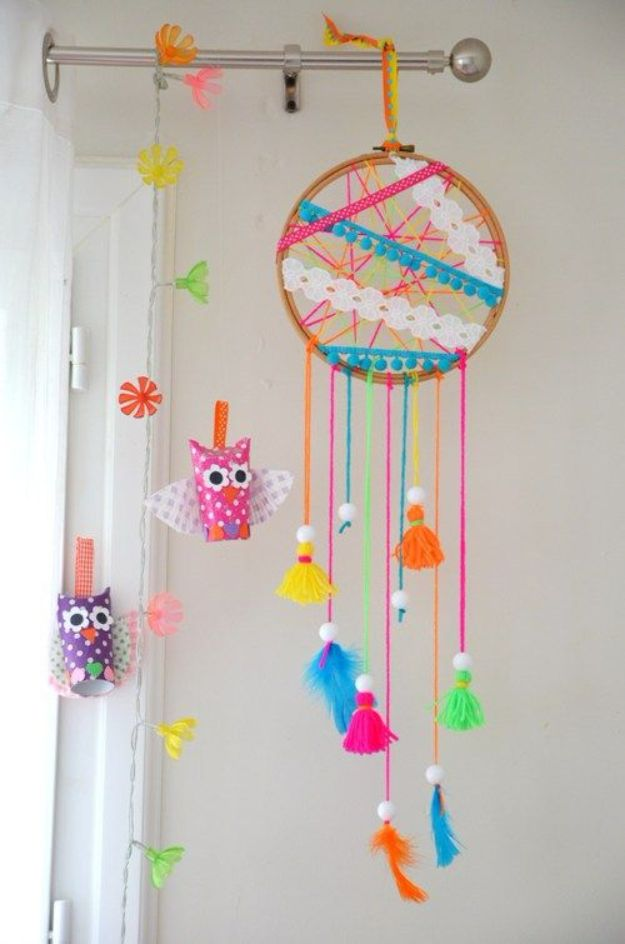 DIY Dream Catchers - Nursery Dreamcatcher - How to Make a Dreamcatcher Step by Step Tutorial - Easy Ideas for Dream Catcher for Kids Room - Make a Mobile, Moon Designs, Pattern Ideas, Boho Dreamcatcher With Sticks, Cool Wall Hangings for Teen Rooms - Cheap Home Decor Ideas on A Budget #diyideas #teencrafts #dreamcatchers