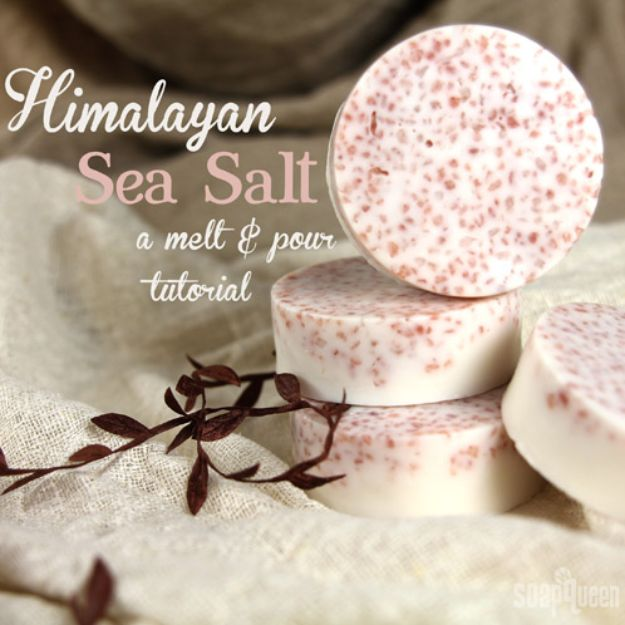 Soap Recipes DIY - Pink Salt and Shea Bath Bar - DIY Soap Recipe Ideas - Best Soap Tutorials for Soap Making Without Lye - Easy Cold Process Melt and Pour Tips for Beginners - Crockpot, Essential Oils, Homemade Natural Soaps and Products - Creative Crafts and DIY for Teens, Kids and Adults #soaprecipes #diygifts #soapmaking