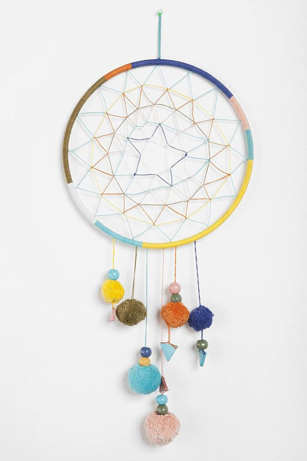 DIY Dream Catchers - Pom Pom Dreamcatcher - How to Make a Dreamcatcher Step by Step Tutorial - Easy Ideas for Dream Catcher for Kids Room - Make a Mobile, Moon Designs, Pattern Ideas, Boho Dreamcatcher With Sticks, Cool Wall Hangings for Teen Rooms - Cheap Home Decor Ideas on A Budget #diyideas #teencrafts #dreamcatchers