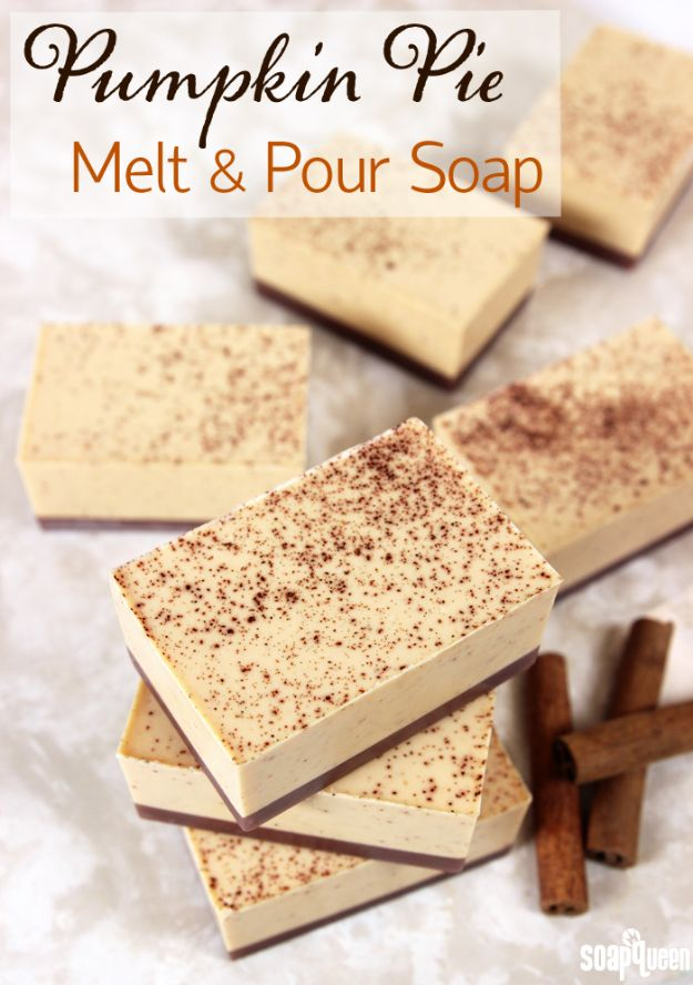 Soap Recipes DIY - Pumpkin Pie Melt and Pour Soap - DIY Soap Recipe Ideas - Best Soap Tutorials for Soap Making Without Lye - Easy Cold Process Melt and Pour Tips for Beginners - Crockpot, Essential Oils, Homemade Natural Soaps and Products - Creative Crafts and DIY for Teens, Kids and Adults #soaprecipes #diygifts #soapmaking