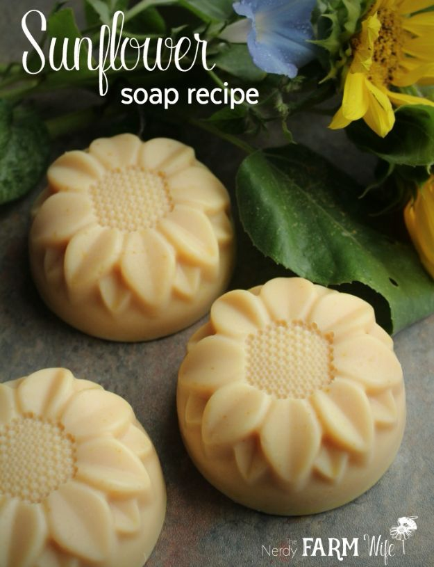 Soap Recipes DIY - Sunflower Soap - DIY Soap Recipe Ideas - Best Soap Tutorials for Soap Making Without Lye - Easy Cold Process Melt and Pour Tips for Beginners - Crockpot, Essential Oils, Homemade Natural Soaps and Products - Creative Crafts and DIY for Teens, Kids and Adults #soaprecipes #diygifts #soapmaking