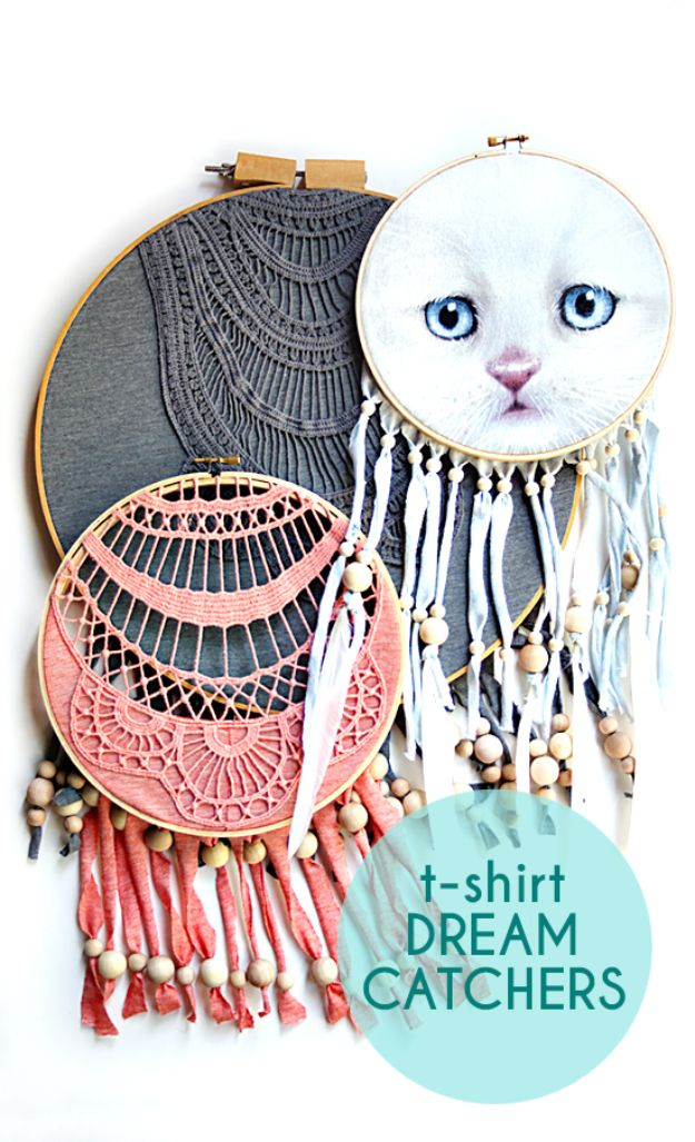 DIY Dream Catchers - T-Shirt Dreamcatcher - How to Make a Dreamcatcher Step by Step Tutorial - Easy Ideas for Dream Catcher for Kids Room - Make a Mobile, Moon Designs, Pattern Ideas, Boho Dreamcatcher With Sticks, Cool Wall Hangings for Teen Rooms - Cheap Home Decor Ideas on A Budget #diyideas #teencrafts #dreamcatchers