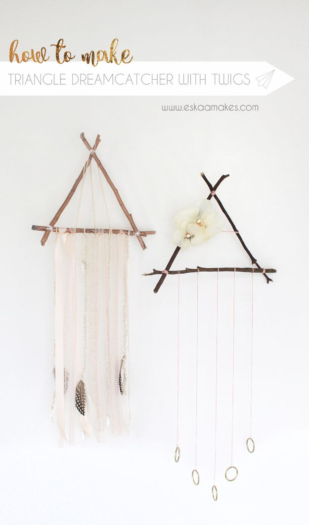 DIY Dream Catchers - Triangle Dreamcatcher with Twigs - How to Make a Dreamcatcher Step by Step Tutorial - Easy Ideas for Dream Catcher for Kids Room - Make a Mobile, Moon Designs, Pattern Ideas, Boho Dreamcatcher With Sticks, Cool Wall Hangings for Teen Rooms - Cheap Home Decor Ideas on A Budget #diyideas #teencrafts #dreamcatchers