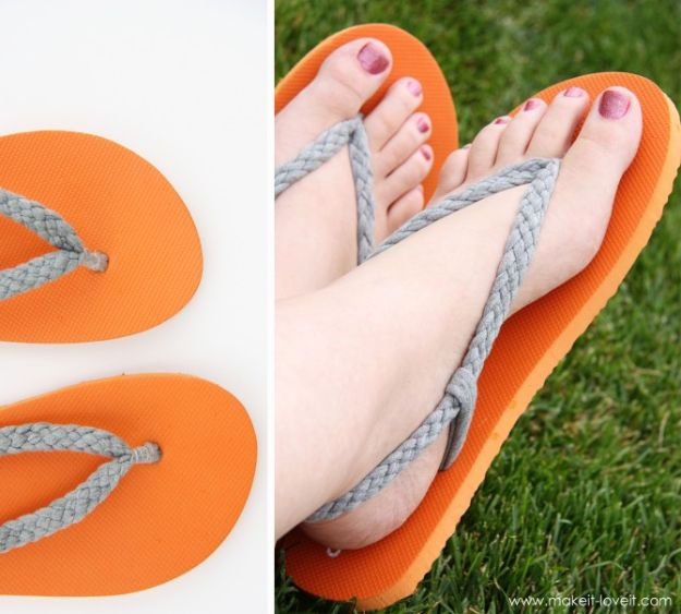 DIY Ideas With Old T-shirts - Braided Flip Flops - Tshirt Makeovers and Transformation Ideas for Tee Shirts - DIY Clothes to Make On A Budgert - Creative and Easy Fashion Ideas for Teen Girls, Teenagers, Adults - Cut and Refashion Your Shirts With These Step by Step Tutorials #teencrafts #tshirtideas #diyclothes #fashion #crafts