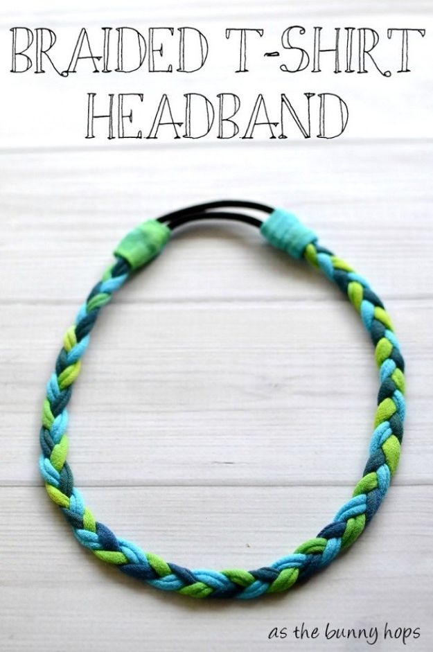 DIY Ideas With Old T-shirts - Braided T-Shirt Headband - Tshirt Makeovers and Transformation Ideas for Tee Shirts - DIY Clothes to Make On A Budgert - Creative and Easy Fashion Ideas for Teen Girls, Teenagers, Adults - Cut and Refashion Your Shirts With These Step by Step Tutorials http://diyprojectsforteens.com/diy-ideas-old-t-shirts