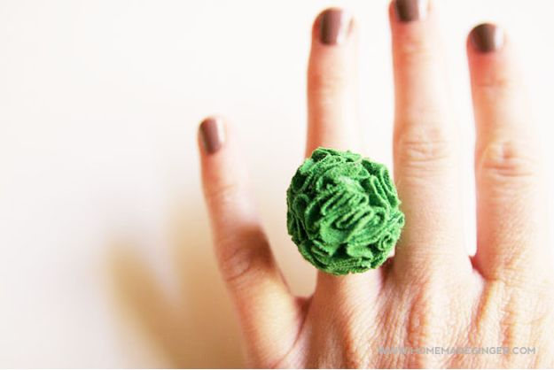 DIY Ideas With Old T-shirts - DIY T-Shirt Flower Ring - Tshirt Makeovers and Transformation Ideas for Tee Shirts - DIY Clothes to Make On A Budgert - Creative and Easy Fashion Ideas for Teen Girls, Teenagers, Adults - Cut and Refashion Your Shirts With These Step by Step Tutorials http://diyprojectsforteens.com/diy-ideas-old-t-shirts