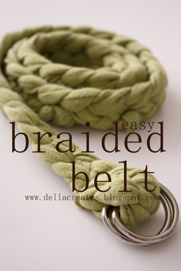 DIY Ideas With Old T-shirts - Easy Braided Belt - Tshirt Makeovers and Transformation Ideas for Tee Shirts - DIY Clothes to Make On A Budgert - Creative and Easy Fashion Ideas for Teen Girls, Teenagers, Adults - Cut and Refashion Your Shirts With These Step by Step Tutorials #teencrafts #tshirtideas #diyclothes #fashion #crafts