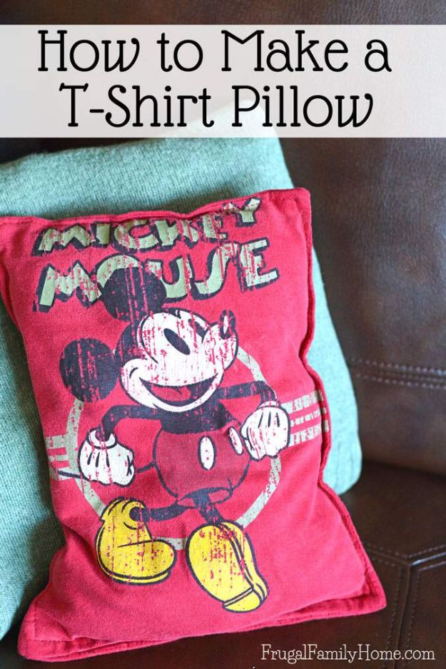 DIY Ideas With Old T-shirts - Make a T-Shirt Pillow - Tshirt Makeovers and Transformation Ideas for Tee Shirts - DIY Clothes to Make On A Budgert - Creative and Easy Fashion Ideas for Teen Girls, Teenagers, Adults - Cut and Refashion Your Shirts With These Step by Step Tutorials http://diyprojectsforteens.com/diy-ideas-old-t-shirts