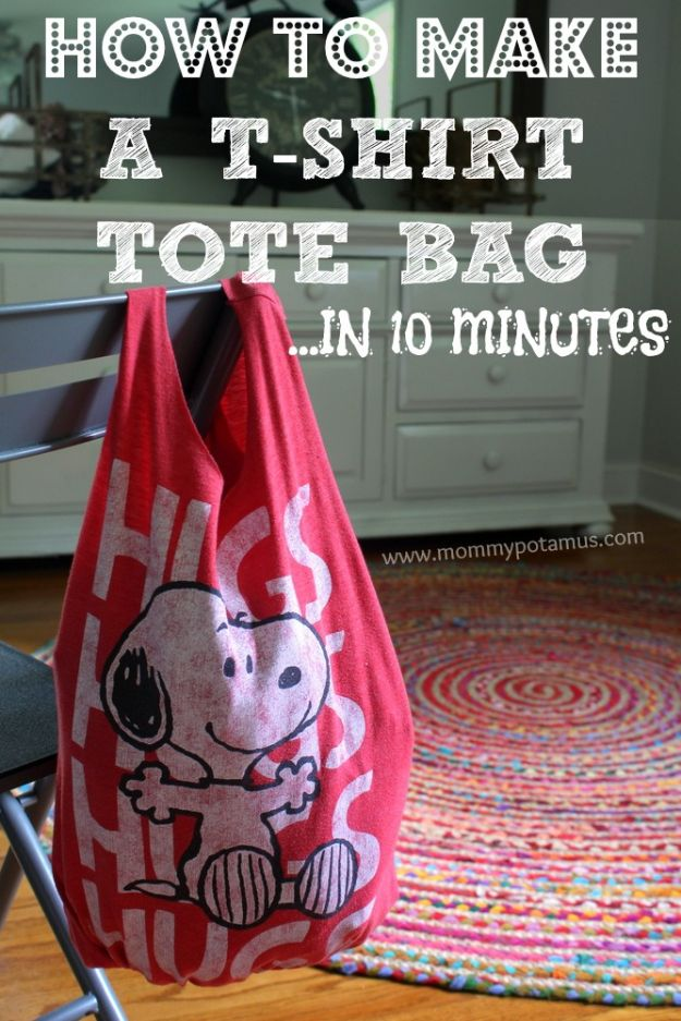 DIY Ideas With Old T-shirts - No Sew T-Shirt Tote Bag In 10 Minutes - Tshirt Makeovers and Transformation Ideas for Tee Shirts - DIY Clothes to Make On A Budgert - Creative and Easy Fashion Ideas for Teen Girls, Teenagers, Adults - Cut and Refashion Your Shirts With These Step by Step Tutorials http://diyprojectsforteens.com/diy-ideas-old-t-shirts