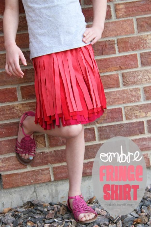 DIY Ideas With Old T-shirts - Ombre Fringe Skirt - Tshirt Makeovers and Transformation Ideas for Tee Shirts - DIY Clothes to Make On A Budgert - Creative and Easy Fashion Ideas for Teen Girls, Teenagers, Adults - Cut and Refashion Your Shirts With These Step by Step Tutorials #teencrafts #tshirtideas #diyclothes #fashion #crafts