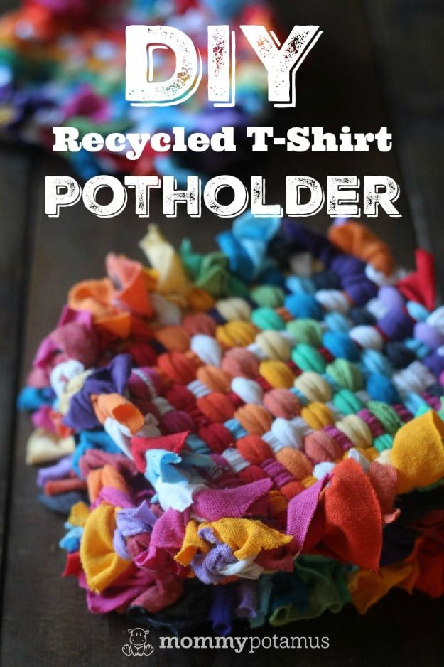 DIY Ideas With Old T-shirts - Recycled T-Shirt Potholders - Tshirt Makeovers and Transformation Ideas for Tee Shirts - DIY Clothes to Make On A Budgert - Creative and Easy Fashion Ideas for Teen Girls, Teenagers, Adults - Cut and Refashion Your Shirts With These Step by Step Tutorials #teencrafts #tshirtideas #diyclothes #fashion #crafts