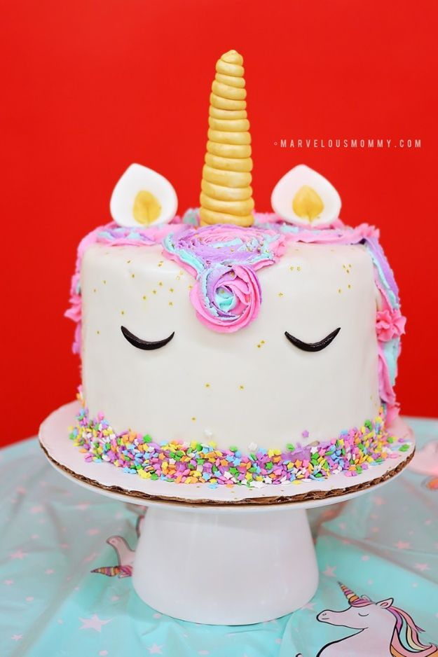 DIY Unicorn Party Ideas - DIY Rainbow Unicorn Cake - Throw A Unicorn Themed Party With These Cheap and Easy but Super Creative Projects - Unicorns Decorations for Parties With Rainbow, Glitter and Fun Colors - Banners, Signs, Cakes and Tabletop Decor for the Best Birthday Party Ever - Girls, Teens and Kids Love These Fun Crafts #birthdayparty #partyideas #unicorn #kidparty