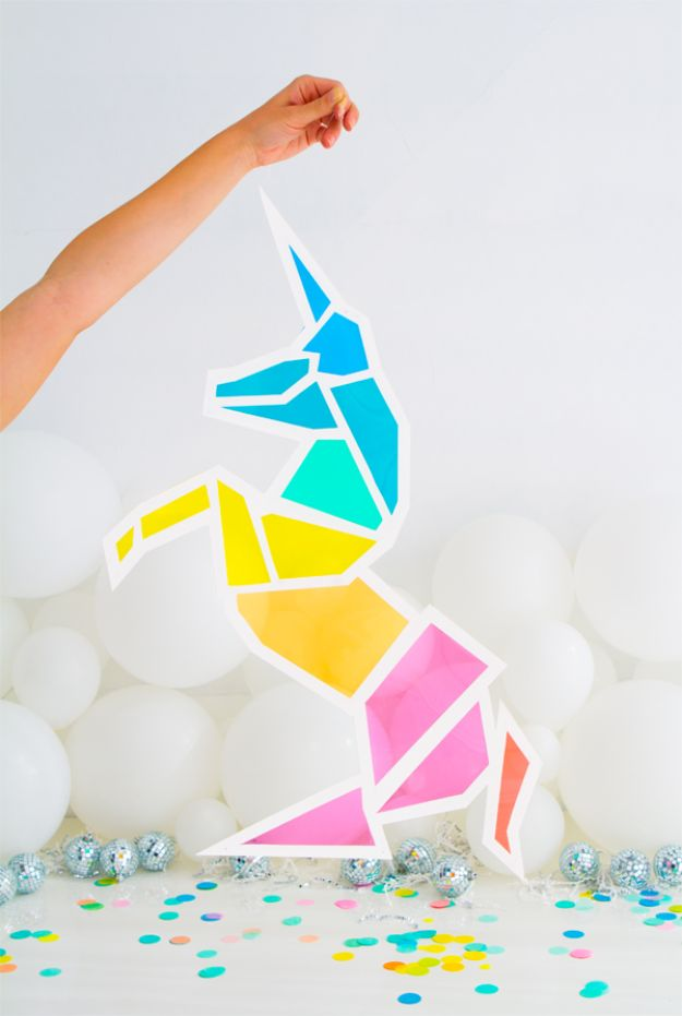 DIY Unicorn Party Ideas - DIY Stained Glass Unicorn - Throw A Unicorn Themed Party With These Cheap and Easy but Super Creative Projects - Unicorns Decorations for Parties With Rainbow, Glitter and Fun Colors - Banners, Signs, Cakes and Tabletop Decor for the Best Birthday Party Ever - Girls, Teens and Kids Love These Fun Crafts #birthdayparty #partyideas #unicorn #kidparty