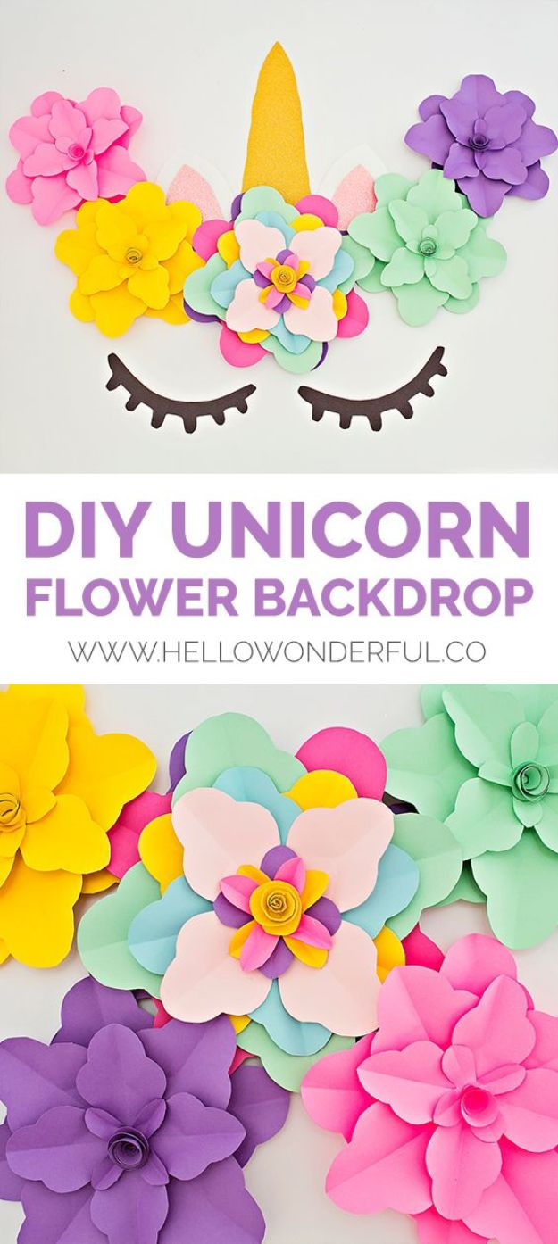 DIY Unicorn Party Ideas - DIY Unicorn Flower Backdrop - Throw A Unicorn Themed Party With These Cheap and Easy but Super Creative Projects - Unicorns Decorations for Parties With Rainbow, Glitter and Fun Colors - Banners, Signs, Cakes and Tabletop Decor for the Best Birthday Party Ever - Girls, Teens and Kids Love These Fun Crafts #birthdayparty #partyideas #unicorn #kidparty