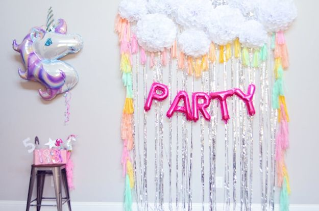 DIY Unicorn Party Ideas - DIY Unicorn Party Backdrop - Throw A Unicorn Themed Party With These Cheap and Easy but Super Creative Projects - Unicorns Decorations for Parties With Rainbow, Glitter and Fun Colors - Banners, Signs, Cakes and Tabletop Decor for the Best Birthday Party Ever - Girls, Teens and Kids Love These Fun Crafts #birthdayparty #partyideas #unicorn #kidparty