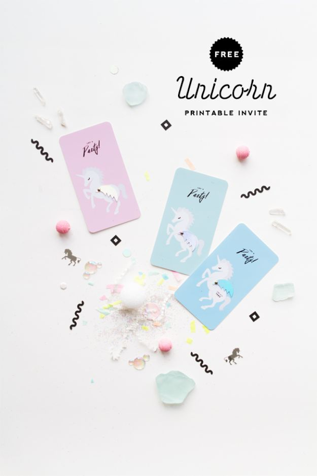 DIY Unicorn Party Ideas -Free Printable Unicorn Party Invitation - Throw A Unicorn Themed Party With These Cheap and Easy but Super Creative Projects - Unicorns Decorations for Parties With Rainbow, Glitter and Fun Colors - Banners, Signs, Cakes and Tabletop Decor for the Best Birthday Party Ever - Girls, Teens and Kids Love These Fun Crafts #birthdayparty #partyideas #unicorn #kidparty