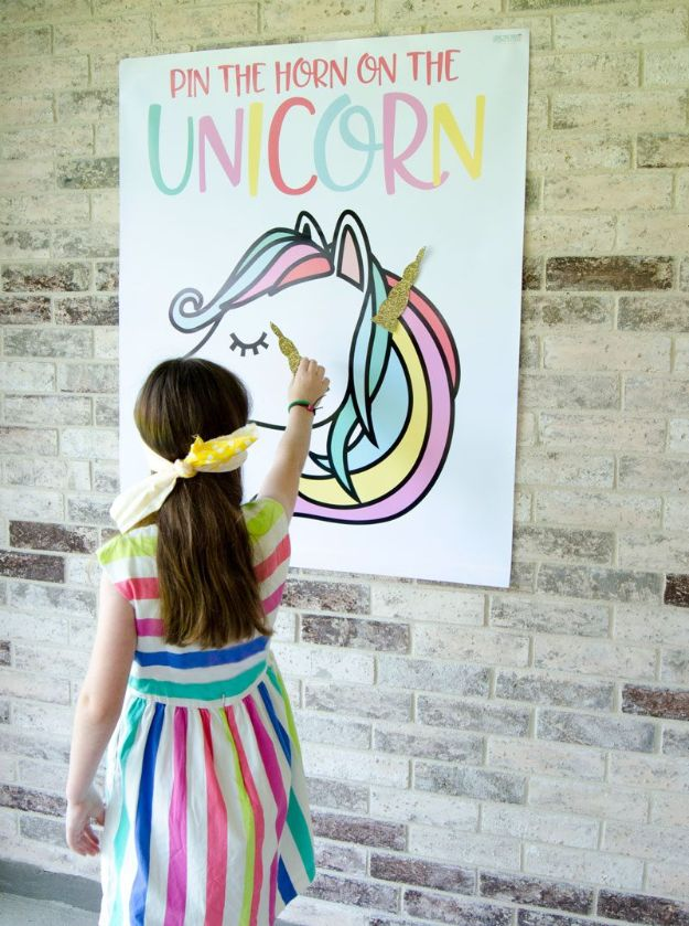 DIY Unicorn Party Ideas - Pin the Horn on the Unicorn - Throw A Unicorn Themed Party With These Cheap and Easy but Super Creative Projects - Unicorns Decorations for Parties With Rainbow, Glitter and Fun Colors - Banners, Signs, Cakes and Tabletop Decor for the Best Birthday Party Ever - Girls, Teens and Kids Love These Fun Crafts #birthdayparty #partyideas #unicorn #kidparty