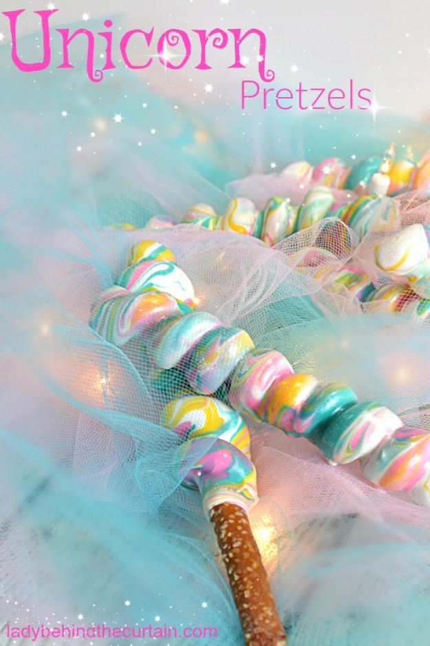 DIY Unicorn Party Ideas - Unicorn Pretzels - Throw A Unicorn Themed Party With These Cheap and Easy but Super Creative Projects - Unicorns Decorations for Parties With Rainbow, Glitter and Fun Colors - Banners, Signs, Cakes and Tabletop Decor for the Best Birthday Party Ever - Girls, Teens and Kids Love These Fun Crafts #birthdayparty #partyideas #unicorn #kidparty
