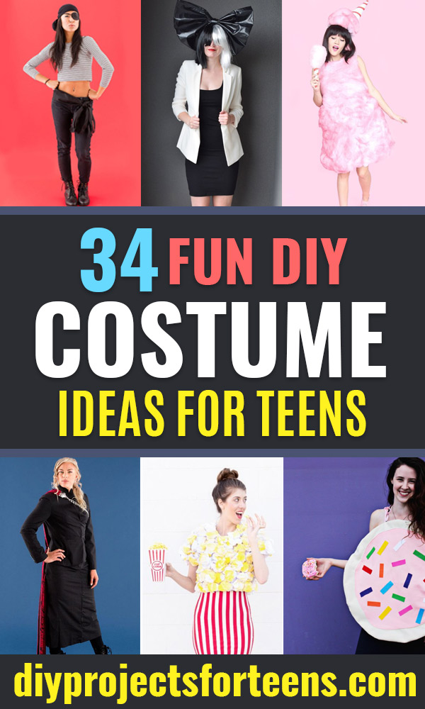 Teen Costume Ideas - Easy Costumes for Halloween - Cheap DIY Costumes for Teens - Scary, Spooky, Ideas for Couples, Groups and Friends - Quick Last Minute Hallloween Costumes, Best Celebrity Ideas - Dolls, Zombies, Ghosts, Makeup Tutorials Teenagers Dress Up Idea- http://diyprojectsforteens.com/diy-teen-costume-deas