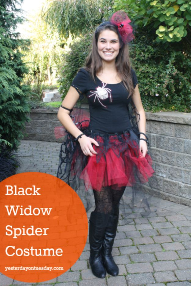 Teen Costume Ideas - DIY Black Widow Spider Costume - Easy Costumes for Halloween - Cheap DIY Costumes for Teens - Scary, Spooky, Ideas for Couples, Groups and Friends - Quick Last Minute Hallloween Costumes, Best Celebrity Ideas - Dolls, Zombies, Ghosts, Makeup Tutorials Teenagers Dress Up Idea- http://diyprojectsforteens.com/diy-teen-costume-deas