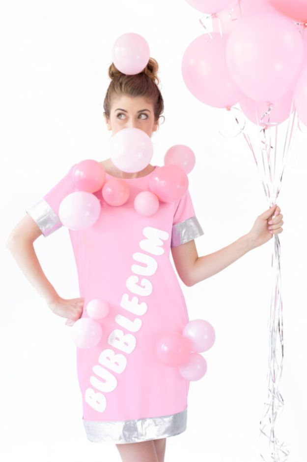 Teen Costume Ideas - DIY Bubblegum Costume - Easy Costumes for Halloween - Cheap DIY Costumes for Teens - Scary, Spooky, Ideas for Couples, Groups and Friends - Quick Last Minute Hallloween Costumes, Best Celebrity Ideas - Dolls, Zombies, Ghosts, Makeup Tutorials Teenagers Dress Up Idea- http://diyprojectsforteens.com/diy-teen-costume-deas