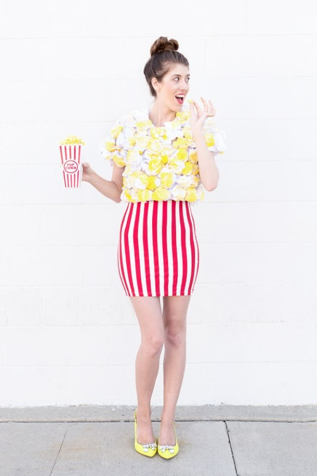 Teen Costume Ideas - DIY Popcorn Costume - Easy Costumes for Halloween - Cheap DIY Costumes for Teens - Scary, Spooky, Ideas for Couples, Groups and Friends - Quick Last Minute Hallloween Costumes, Best Celebrity Ideas - Dolls, Zombies, Ghosts, Makeup Tutorials Teenagers Dress Up Idea- http://diyprojectsforteens.com/diy-teen-costume-deas