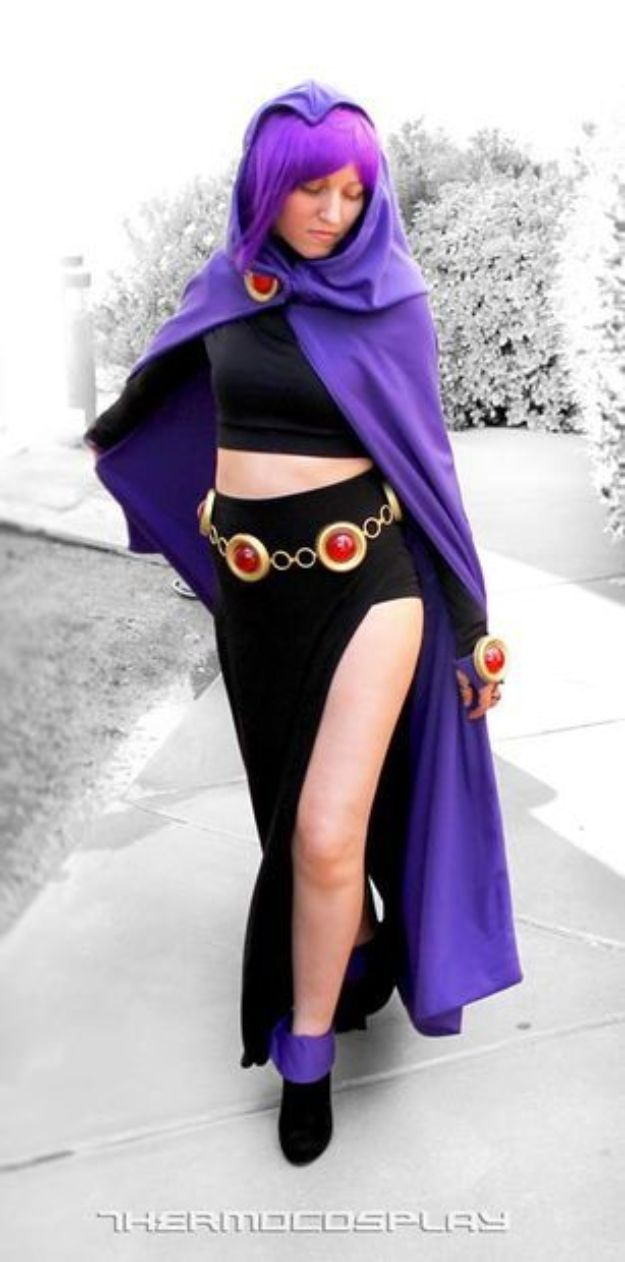 Teen Costume Ideas - DIY Raven Teen Titans Costume - Easy Costumes for Halloween - Cheap DIY Costumes for Teens - Scary, Spooky, Ideas for Couples, Groups and Friends - Quick Last Minute Hallloween Costumes, Best Celebrity Ideas - Dolls, Zombies, Ghosts, Makeup Tutorials Teenagers Dress Up Idea-