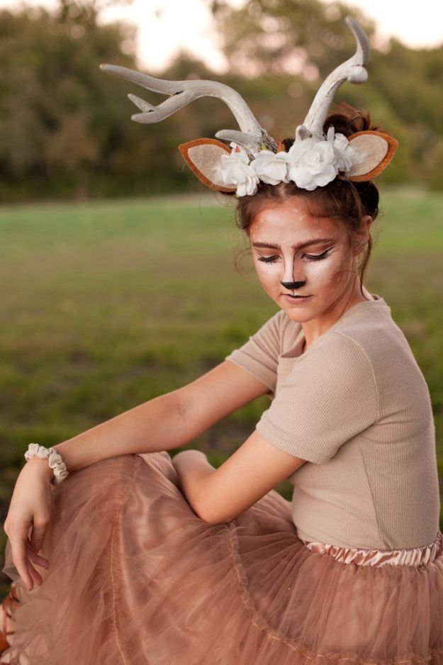 Teen Costume Ideas - Deer Antler Costume - Easy Costumes for Halloween - Cheap DIY Costumes for Teens - Scary, Spooky, Ideas for Couples, Groups and Friends - Quick Last Minute Hallloween Costumes, Best Celebrity Ideas - Dolls, Zombies, Ghosts, Makeup Tutorials Teenagers Dress Up Idea-