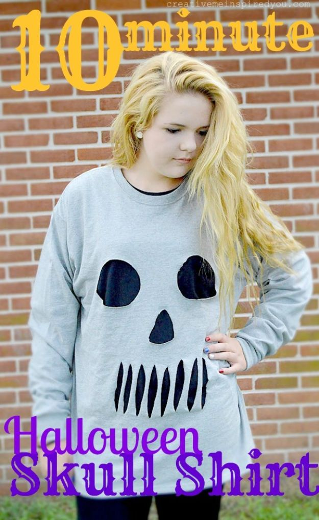 Teen Costume Ideas - Halloween Skull Shirt - Easy Costumes for Halloween - Cheap DIY Costumes for Teens - Scary, Spooky, Ideas for Couples, Groups and Friends - Quick Last Minute Hallloween Costumes, Best Celebrity Ideas - Dolls, Zombies, Ghosts, Makeup Tutorials Teenagers Dress Up Idea- http://diyprojectsforteens.com/diy-teen-costume-deas